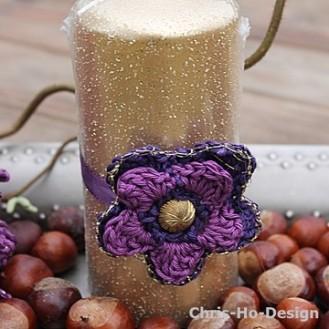 Chris-Ho-Design Heklet dekorblomst i lillafarger m/gull http://chris-ho.com/heklet-dekorblomst-i-lillafarger-m-gull.html