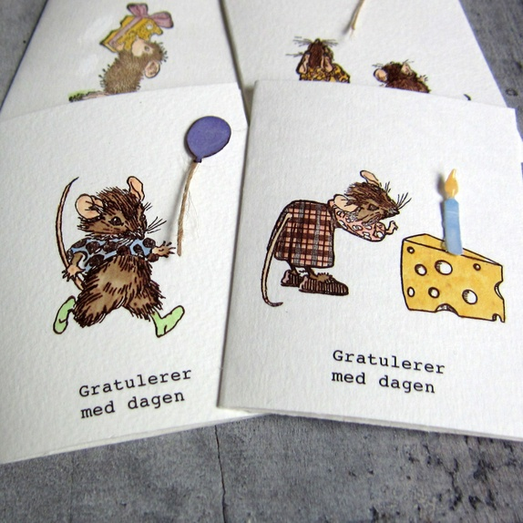 Mus - 4 små bursdagskort Finner du hos Cirkeline Design https://www.epla.no/shops/cirkelinedesign/