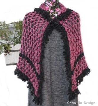 Chris-Ho-Design: Stort heklet sjal i lyngrosa og svart http://chris-ho.com/stort-heklet-sjal-i-lyngrosa-og-svart.html