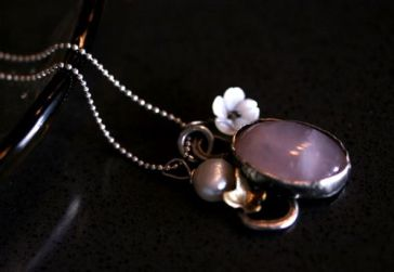 SARA JEWELLERY & DESIGN: ROSE QUARTZ SILVER AND BRONZE NECKLACE http://sarajewelleryanddesign.tictail.com/product/rose-quartz-silver-and-bronze-neclace